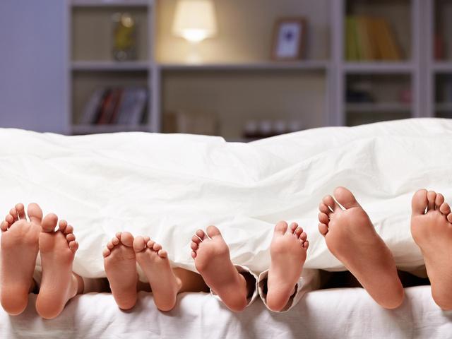 семья под одеялом