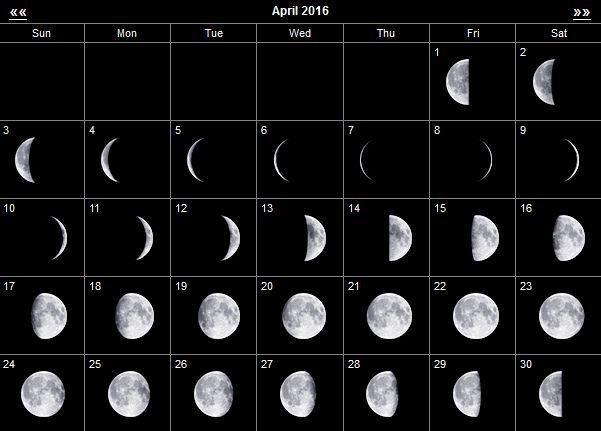 лунный календарь апрель 2016