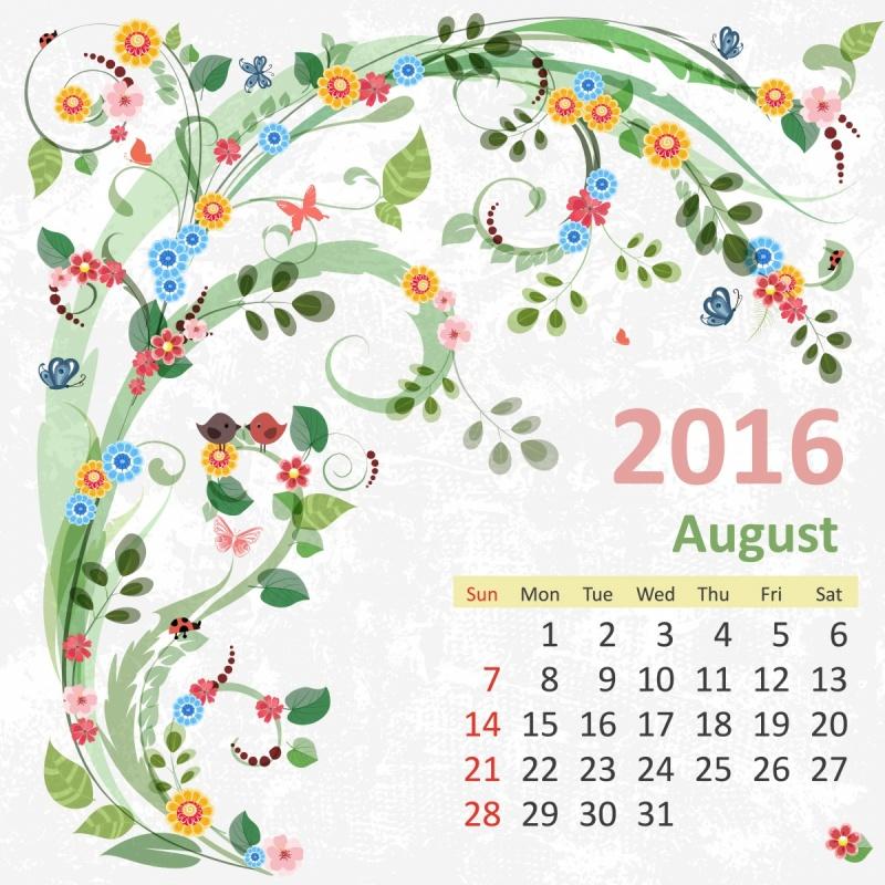 календарь август 2016