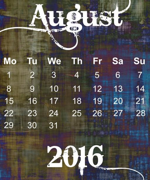 август 2016 календарь