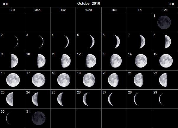 лунный календарь октябрь 2016