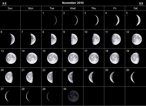 лунный календарь ноябрь 2016