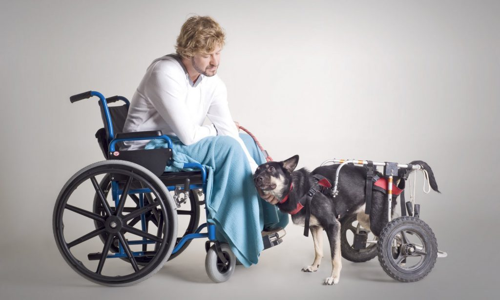 инвалид мужчина и собака инвалид